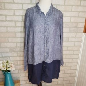 Tahari Linen Button Down Top